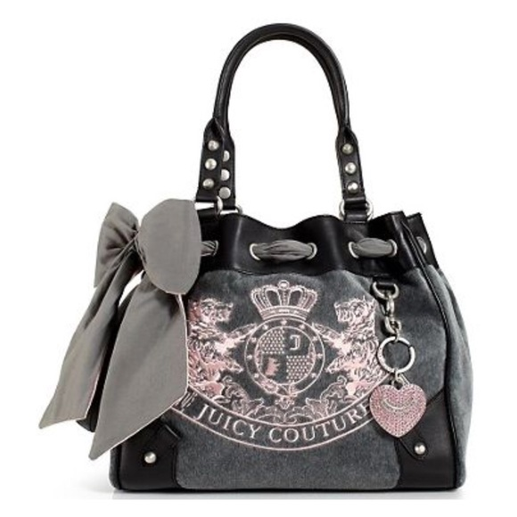 bba5ade4aa43bd Juicy Couture Handbags - Juicy Couture Velour Daydreamer Grey Pink Bow